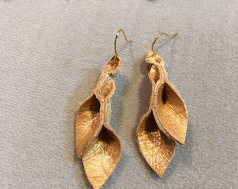 Petal Collection: honey Gold leather petal earrings 2 inch