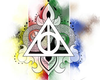 Harry Potter Deathly Hallows print in Hogwarts house colors.