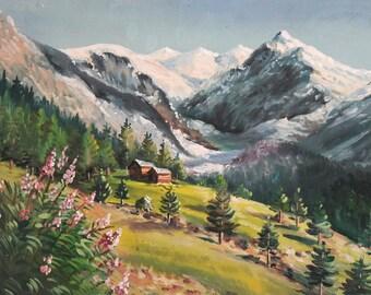 Vintage landcape oil painting impressionism