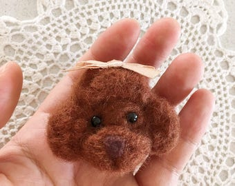 Handmade wool felted / needle felted puppy / dog brooch gift for her