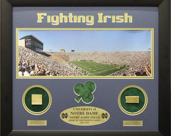 20x24 Notre Dame Print with Actual Authentic Pieces from Stadium