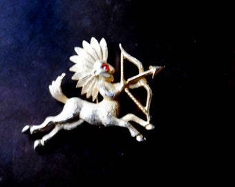 Exotic vintage 80s, gold tone metal,zodiac , Sagittarius brooch.