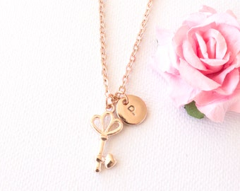 Rose gold key necklace, rose gold key jewellery, key, key gift, 21st key gift,gift for mother, sisters necklace, RGKEIN0217, bridesmaid gift