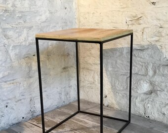 Industrial Style Minimal Side Table Modern Display Thin Narrow Framed