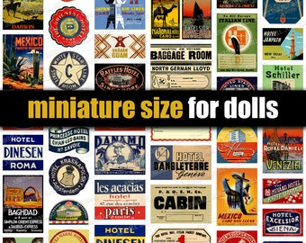 TINY TRAVEL LABELS - Digital Printable Collage Sheet - Vintage Travel Stickers, Miniature Luggage Labels for Dolls & Dollhouse Suitcases