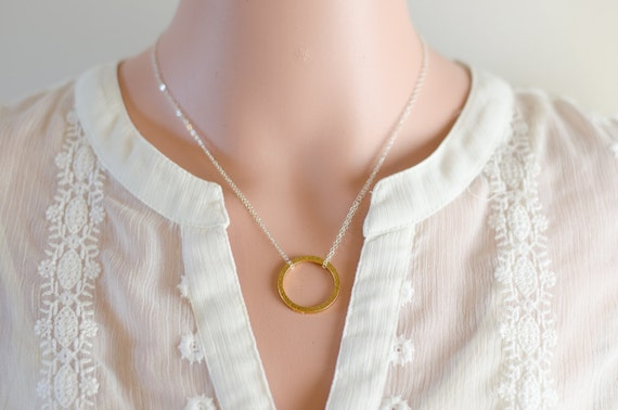 Karma Necklace   Eternity Infinity Necklace   Silver and Gold   Gold Hammered Ring   Sterling Silver Chain   Modern Everyday Jewelry