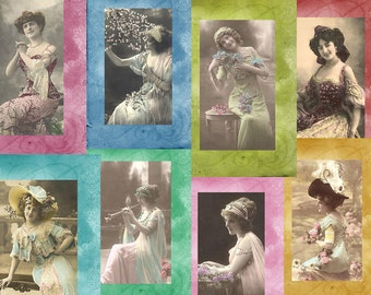 Vintage Photograph Blank Greeting Cards set of Eight