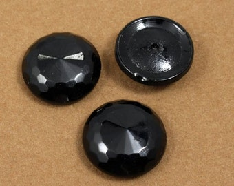 18mm Black Faceted Cabochon #502