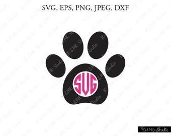 Paw SVG, Dog Paw Svg, Paw Monogram Svg, Cat Paw Clipart, Paw Print SVG, SVG Files, Cricut, Silhouette Cut Files