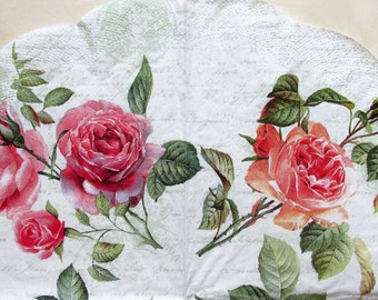 Decoupage paper napkin  Round paper napkin Rose