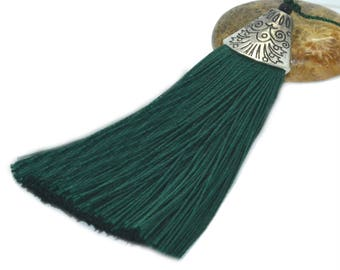Large tassel 08cm green dark polyester with Silver Cup