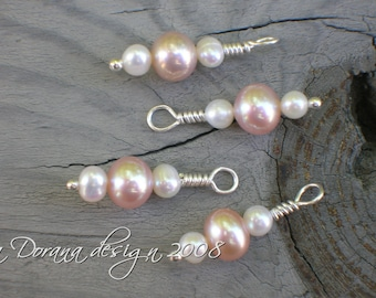 Peach and White - myDesign Interchangeable Charms for Stitch Markers- Freshwater Pink and White Pearls in Sterling Silver - a Dorana design