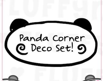 Panda Corner Sticker Deco Set || Planner Stickers, Cute Stickers for Erin Condren (ECLP), Filofax, Kikki K, Etc. || CS06