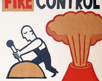 fire control / hand printed woodcut and collage / limited edition