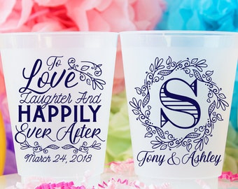 Happily Ever After Frosted Cup - Shatterproof Cup - Monogram Cups - Frosted Flex Cup - Wedding Party Favor - Cocktail Cups - Reusable Cups