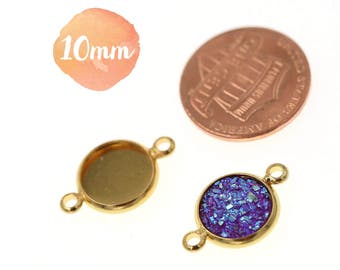 10pcs of 10mm Shiny Gold  Tone Charm Drop Pendant Round Tray Connectors Bezel Blanks, Made with Brass