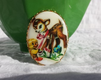 Deer and Duck Vintage Cabochon 25mm x 18mm