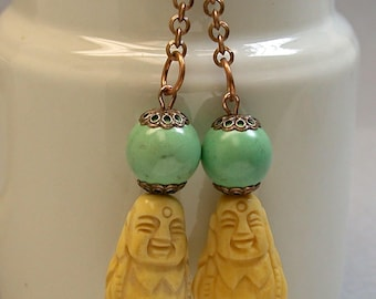 Vintage Carved Bone Buddha Bead Earrings Asian Dangle Drop, Vintage Chinese Turquoise Beads, Copper Ear Wires
