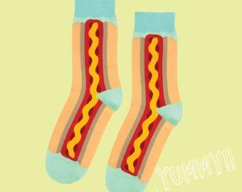 FREE SHIPPING Hot Dog socks men's socks women's socks hot dog socks vegetable socks gift socks