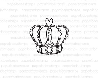 Ornate Crown - Paperbabe Stamps - Photopolymer Stamp - Ornate Crown Image for Mixed Media and paper crafting
