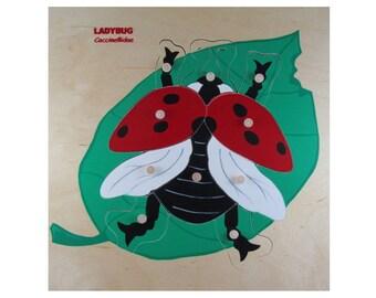 """Ladybug Wooden Puzzle 11""""x11"""""""