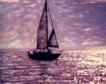 Lake Michigan Sailboat Polaroid SX-70 Manipulation - 8x8 Fine Art Photograph
