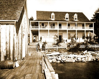 "1878 Warm Springs Hotel, Lake Tahoe Vintage Photograph 8.5"" x 11"" Reprint"