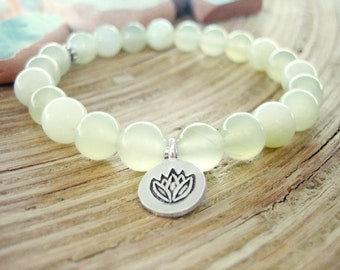 New Jade Bracelet - Lotus Bracelet with Serpentine and Silver Charm, Yoga Mala with Light Green Beads for chakra clearing and kundalini