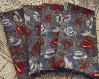 Cowboy Hats and Lassos Handmade Cotton Napkins, Set of 4 Cloth Napkins, Fabric Napkins, Western Napkins, Cowboy Napkins, Dinner Napkins