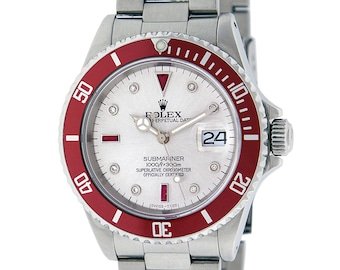 Rolex Mens 16610 Submariner Stainless Steel Silver Diamond and Ruby Watch