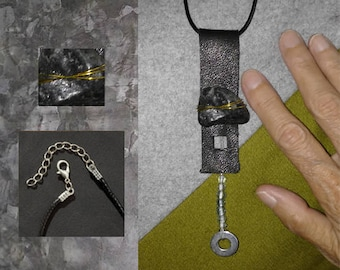 Pendant Necklace of Leather, Stone + Beads
