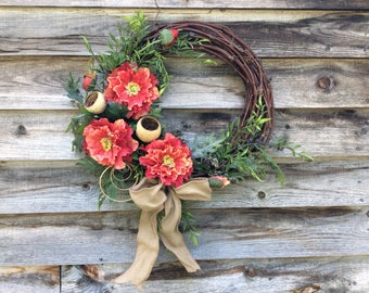 Poppy Wreath, Artificial Flower Wreath, Decorative Wall Flowers Wreath, Fall Front Door Decoration,  Made in Canada