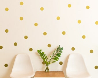 """Polka Dot Wall Decal / gift / Gold Polka Dot Decal / 2.5"""" Dot sticker / Kids wall decoration / baby room decal / removable decor / gift"""