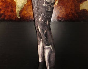 TAFI Skull Armor Leggings - Gothic Fantasy Armour WOW Costume Yoga Pants 2017 Black Milk Galaxy CosPlay Print