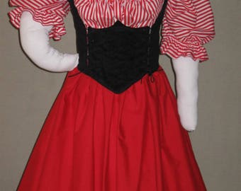DDNJ Choose Fabrics 3pc Reversible Corset Style Bodice Chemise Skirts Renaissance Plus Custom Made ANY Size Vampire Gypsy Victorian Cosplay
