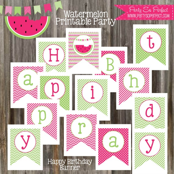 INSTANT DOWNLOAD Happy Birthday Banner Watermelon Party