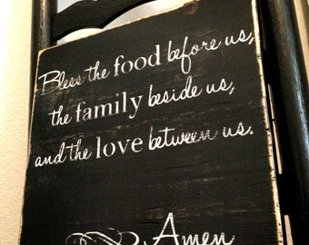 Made to Order Food, Family, and Love Prayer Wooden Sign - Distressed, Rustic Wall Decor - Dining Room / Kitchen Art
