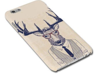 Stag/Deer Man Wearing Glasses Hipster Phone Case / Cover for iPhone Case / Cover or Samsung Phone Case / Phone Cover - FREE UK Delivery
