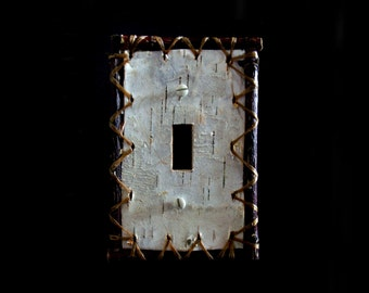 Handsewn real birch bark single switch plate cover