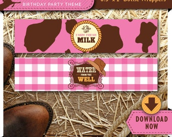 Cowgirl Water Bottle Labels | Wrappers | Printable Birthday Party Decorations | Instant Download
