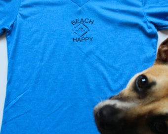 BEACH HAPPY.  T-Shirt made with 6 Recycled Water Bottles!  Check it out!