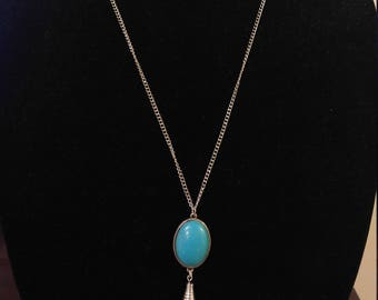 Silver tassel and turquoise necklace
