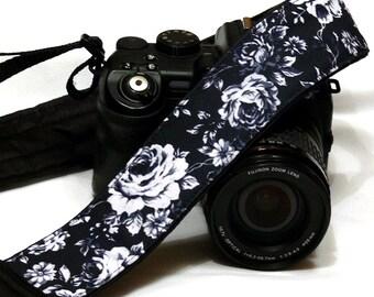Camera Strap.  Personalized Camera Strap. Black and White Roses Camera Strap. Accessories. Canon Nikon Camera Strap. Monogram camera strap.
