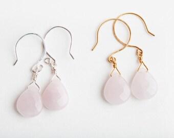 Pink Quartz Earrings, Pink, Quartz Earrings, Pink Earrings, Pink Gold, Pink Gold Earrings, Pale Pink Quartz, Quartz Jewelry, Gift for Mom