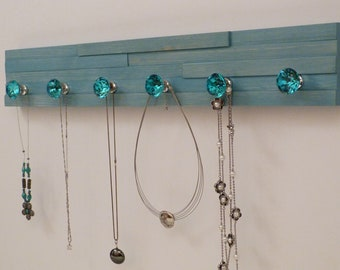 24 inches/6 knobs Jewelry Organizer, Necklace Holder, Bracelet Holder, Turquoise
