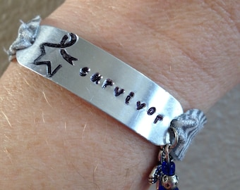 Colon Cancer Survivor Bracelet: elastic with hand stamped metal plate and accent charm with beads
