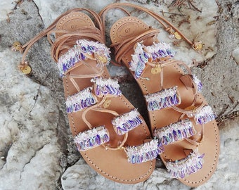 """Handmade Leather Sandals / Colorful Lace Tie up Boho Stripes Charms Sandals / Bridal / Greek High Quality Leather/ Gladiator Strap/ """"Amelia"""""""