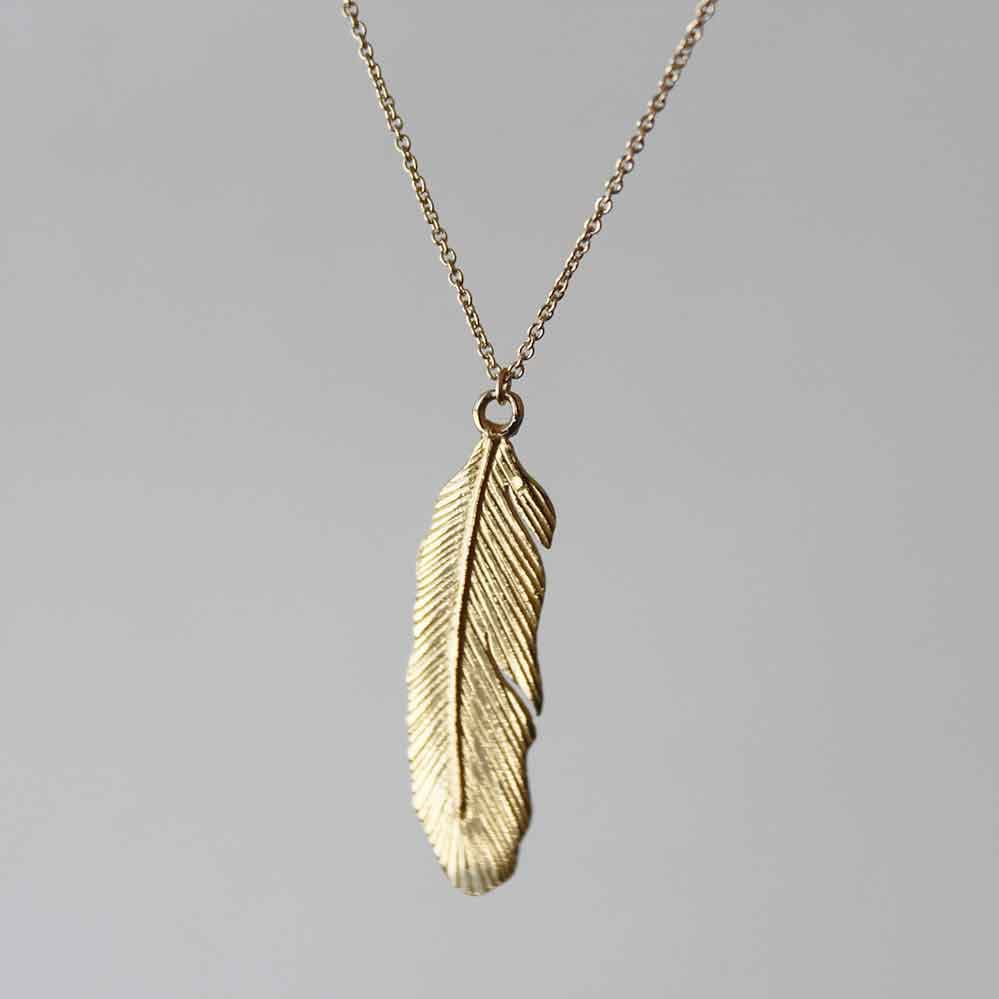 Delicate feather pendant brass with 14k gold fill dainty zoom aloadofball Images