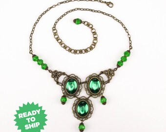 Marquesa Questa Necklace green bronze, renaissance necklace, renaissance jewelry, Victorian necklace, Tudor jewelry, fantasy green (3023jn)