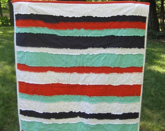 Umbrella and Stripes Flannel Rag Quilt